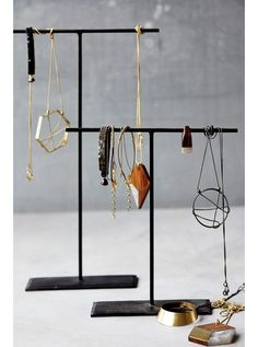 An elegant way to keep your rings, bracelets and necklaces together and on display. This set of two jewellery stands have been hand forged (whereby the metal was heated and shaped by hand rather than by machine) making each one unique. Earring Storage, Jewellery Storage, Jewellery Display, Wall Mount Jewelry Organizer, Jewelry Organization, House Doctor, Jewelry Stand, Jewelry Holder, Sunglasses Storage