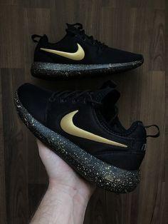 Nike Roshe Run Black with Custom Gold Swoosh and Splatter Sole Paint Nike  Roshe Run Black c03e924c9