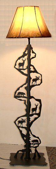 Wildlife Decor Moose, Bear, Deer Scenery Style Floor Lamp