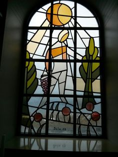 The stained glass in the tiny church of Vik, Iceland. Psalm 23.