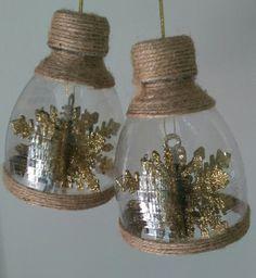 Plastic Jar Crafts, Plastic Bottle Crafts, Diy Bottle, Wine Bottle Crafts, Plastic Bottles, Ornament Crafts, Holiday Crafts, Christmas Crafts, Christmas Ornaments
