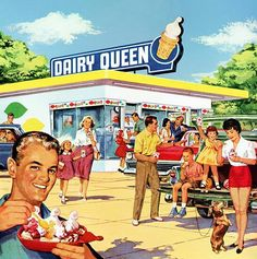 Two of my favorite things: Dachshunds and Dairy Queen! Dairy Queen 1960 ad - note Dachshund (right side of ad! Dairy Queen, Pin Up Vintage, Vintage Beauty, Vintage Ads, Vintage Food, Vintage Stuff, Retro Ads, Vintage Advertisements, Retro Advertising