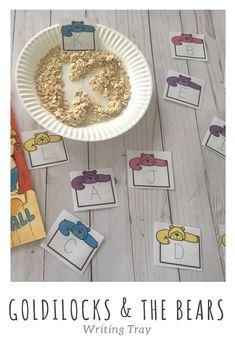 Goldilocks and the three bears writing tray