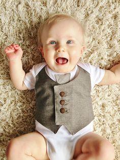 CUSTOM ORDER Waistcoat and tie baby bodysuit, baby vest, boy one piece, baby wedding outfit, 1st birthday UK