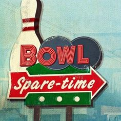 """Universal Lighting and Decor Retro Bowling Sign Giclee 30"""" Square Canvas Wall Art"""