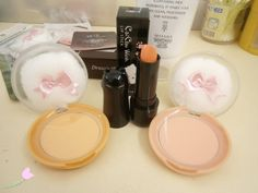Etude House Cookie Blushers (carrot cheesecake & grapefruit jelly), and Tony Moly CatChu Wink Lipstick (peach vanilla)