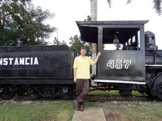 Brian Kaylor in front of an old train. Photo taken by Brian Kaylor during a trip for the COEBAC's 40th anniversary celebration at Iglesia Bautista Enmanuel (Emmanuel Baptist Church) in Ciego de Ávila, Cuba.