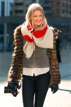 scarf power-- fantastic fall ensemble...note the strong red enhances & lifts the blonde hair..all offset from a layered sleeve bubble jac..cool!