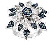 1.00ctw White & Blue Velvet Diamond(Tm) Rhodium Over Sterling Silver Ring (PMD061)