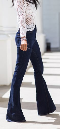 Lace top & flared jeans