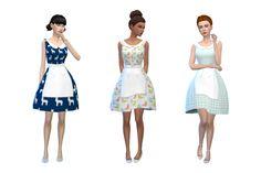 Alice Dress Retro Dress with Apron sims 4 cc maxis match