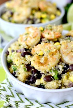 Tequila-Lime Shrimp & Quinoa Salad [ SkinnyFoxDetox.com ] #salad #skinny #health Fish Recipes, Seafood Recipes, Whole Food Recipes, Healthy Recipes, Cold Shrimp Salad Recipes, Shrimp Dishes, Shrimp And Quinoa, Lime Quinoa, Cold Quinoa Salad