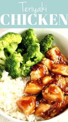 Quick Teriyaki Chicken Rice Bowls recipe – Sweet, garlicky chicken served with rice and steamed broccoli comes together in just 20 minutes. Better than takeout and made with just a few ingredients, this Asian chicken dinner idea is on our weekly rotation! Chicken Teriyaki Rezept, Teriyaki Chicken Rice Bowl, Chicken Rice Bowls, Best Teriyaki Chicken Recipe, Steam Chicken Recipe, Teriyaki Rice, Chicken Over Rice, Chipotle Chicken, Orange Chicken