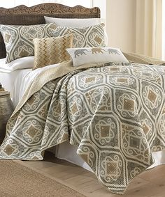 Look at this Gold & Gray Tamara Quilt Set on #zulily today!