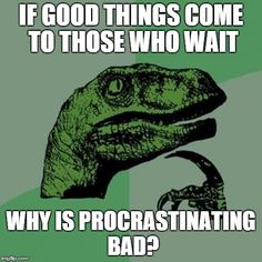 Philosoraptor | IF GOOD THINGS COME TO THOSE WHO WAIT WHY IS PROCRASTINATING BAD? | image tagged in memes,philosoraptor | made w/ Imgflip meme maker