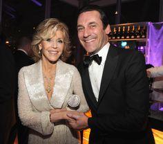 Jane Fonda and Jon Hamm at the Vanity Fair  Party