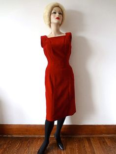 061406346d2 1950s Anne Fogarty Dress vintage red velvet cocktail party gown holiday  attire size S