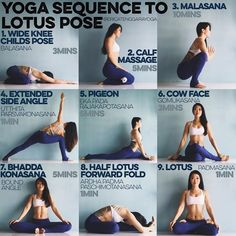 YOGA SEQUENCE TO LOTUS POSE: I tore my ACL in 2009, got it reconstructed & lotus was just out of the question. After almost 3 years of practice I can now do lotus comfortably & hands free. Takes a lot of patience & dedication but here are my tips to opening your hips for lotus.  Please warm up with Sun salutes Those extra stiff - foam roll too Times are just guidelines - 1. WIDE KNEE CHILD's POSE Think butt to heels, belly melts down, extension to the spine. One day your chin &am