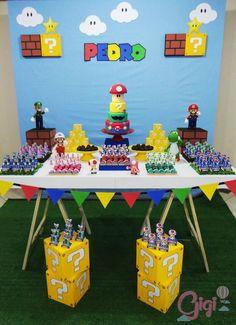 Super Mario Birthday, Mario Birthday Party, Super Mario Party, 6th Birthday Parties, Super Mario Bros, Princess Peach Party, Mario Y Luigi, Mario Kart, Nintendo Party