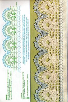 Lace Edging Crochet Patterns Part 13 Crochet Boarders, Crochet Edging Patterns, Crochet Lace Edging, Crochet Diagram, Crochet Chart, Lace Patterns, Crochet Designs, Crochet Doilies, Crochet Flowers