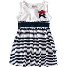 Vestido Infantil Listrado para Menina Marinho - Brandili :: 764 Kids | Roupa bebê e infantil