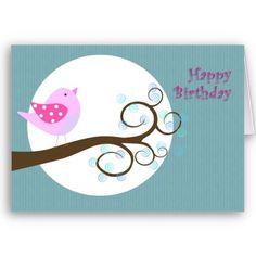 Pájaro del rosa del feliz cumpleaños tarjetas de Zazzle.com