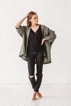 Giacca kimono in lino giacca kimono verde pino vestiti di