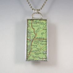 Vicksburg Mississippi Map Pendant Necklace by XOHandworks