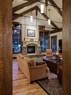A different idea for stacked stone fireplace.  Traditional Living Room Fireplace Mantel Design, Pictures, Remodel, Decor and Ideas - page 9