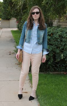 Pale pink pants, denim jacket, striped button down blouse, black heels, fall look, blue and pink