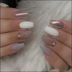 the most wonderful and convenient coffin nail designs 2019 – page 51 - acrylic nails Cute Nails, Pretty Nails, Coffin Nails, Acrylic Nails, Hair And Nails, My Nails, Simple Wedding Nails, Nagel Gel, Holographic Nails