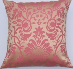 pink and gold damask pillow
