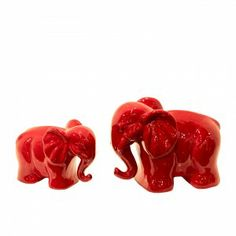 Urban Trends Ceramic Elephant Red Set of Two-20811