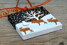 Canvas Christmas Ornament Snowy Landscape with Bare by CarolaBartz