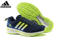 31b5a1d5bf7 Men s Adidas Questar Flyknit Boost Running Shoes Navy Blue Fluorescent Green