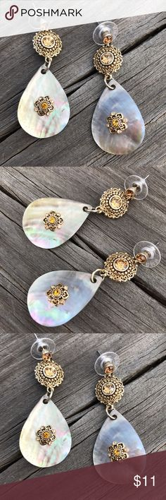 Abalone Earrings Dangle post earrings with abalone shell design / gold hardware and yellow gold rhinestones Jewelry Earrings