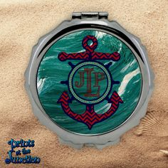 392d417eb2466 Items similar to Monogrammed Nautical Compact Mirror Anchor And Ship Wheel  Bridesmaid Compact Purse Mirror Custom Nautical Pocket Mirror Cosmetics  Gift on ...