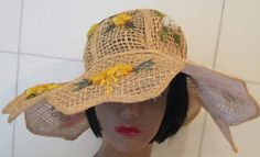 Straw Woven Flower Hat / A Boho Beauty by MISSVINTAGE5000 on Etsy, $30.00