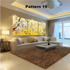 (no frames) picture 3 piece modern cheap home decor wall pictures oil paintings art on flower bedroom living room canvas print Ceiling Design Living Room, Living Room Designs, Home Living Room, Living Room Decor, Kitchen Living, Room Kitchen, Living Room Canvas Prints, Wall Prints, Living Room Pictures