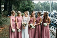 Kaitlin`s girls looked quite amazing in their dusty rose bridesmaid dresses from FHFH! And also FHFH groomsmen`s ties in same color matched so well with the dresses! Thanks Kaitlin for sharing!  Shop this dusty rose bridesmaid dress: http://www.forherandforhim.com/cap-sleeved-vintage-bridesmaid-dress-with-faux-buttons_728.html