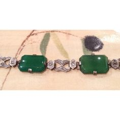 Chrysoprase Marcasite Bracelet, European Silver, Art Deco 1920s... ($145) ❤ liked on Polyvore featuring jewelry, bracelets, vintage bangles, marcasite jewelry, antique silver bangles, vintage silver bangle and silver bangles