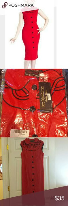 NWT Voodoo Vixen Dress Size XL NWT. Red Doodoo Vixen dress. Size XL. Never tried on or worn. Sealed in bag since I purchased it. 60% Cotton 35& Polyester 5% Spandex with stretch to it. Cute rose buttons. Dress buttons in the front. Walking slit in the back.Bring out your inner vixen in this pinup or rockabilly dress! Material feels like a thick sift t-shirt. Voodoo Vixen Dresses