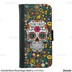 Colorful Retro Floral Sugar Skull iPhone 6 Wallet Case