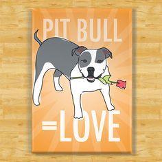 Valentines Day Pit Bull Fridge Magnet - Love - Blue and White Pit Bull Gifts Dog Refrigerator Fridge Magnets
