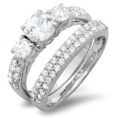 2.15 CT Sterling Silver 3 stone Ladies Round cut Cubic Zirconia CZ Wedding Bridal Engagement Ring with Matching Band Set DazzlingRock Collection. $34.99. 6 mm center stone. Weighs approximately 4.2 grams. Cubic Zirconia Color / Clarity : White/Clean. Crafted in 925 Sterling-silver. Get most bang for your buck