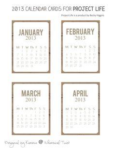 Whimsical Twist: 2013 project life calendar freebie