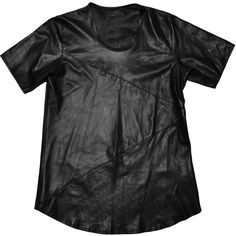 En Noir leather U neck tee