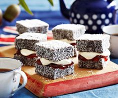 Lamingtons with jam and cream recipe - By Woman& Day, Mix up that traditional Aussie treat with some jam and cream. Perfect with a cup of tea or coffee, there& a reason lamingtons are such a staple Australian dessert. Australian Desserts, Australian Food, Australian Recipes, Aussie Food, Lamingtons Recipe, Baking Recipes, Cake Recipes, Baking Ideas, Melbourne