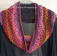 """Knitting With Looms: Lacy Cowl using Theresa Higby's Rainfall & All In One Loom. Use every peg, but not in round. It's a flat panel & stitch ends together to form loop. Theresa's description of Rainfall is """"E-wrap & Purl Drop Stitch"""". Pattern's made of 4 rows, so for this cowl loom knit 6 full repeats then two rows into next repeat. Then row of e-wrap 1, purl 1 then cast off. Ends were seamed together then a single crochet border along both edges. Try mobius twist as it would hang much…"""