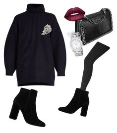 """How to wear: Black sharp nosed boots"" by tata-kazarian on Polyvore featuring MANGO, Acne Studios, John Lewis, Bandolera, Marc by Marc Jacobs and Lime Crime"